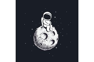 Cute little astronaut sits on Moon