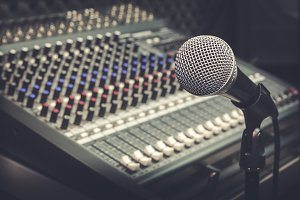 Microphone and sound music mixer.