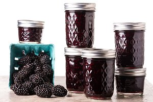Blackberry jam and berries