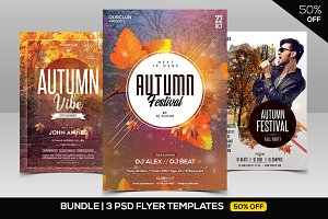 BUNDLE 50% OFF - 3 PSD Autumn Flyers