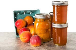 Box of apricots with jam
