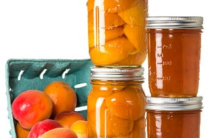 Preserved apricots and jam