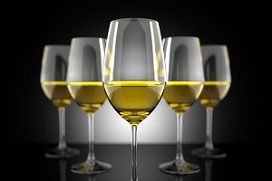 White wine glass set 3D illustration