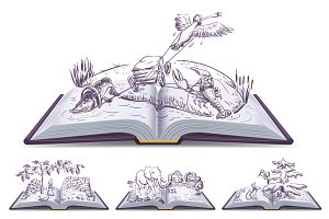 Set open book fable illustration