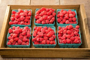 Crate of red raspberries