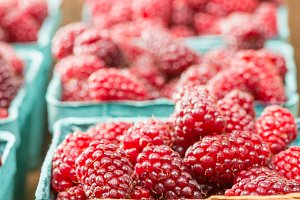 Fresh red tayberries at the market