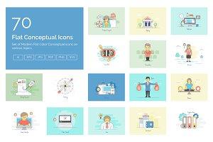 70 Flat Conceptual Icons