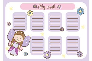 Timetable for kids with fairy