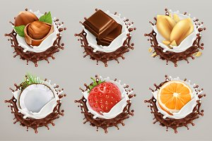 Fruit and nuts with splashes, vector