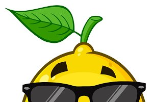 Smiling Lemon Fruit With Sunglasses