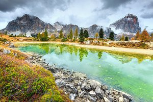 Limides lake in Dolomites, Italy