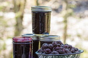 Blackberry jam with jars