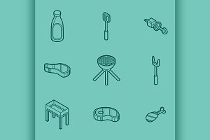 BBQ color icons