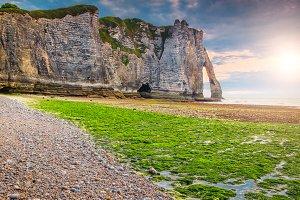 Mossy coastline in Etretat, France
