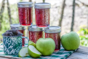 Jars of jelly with apples