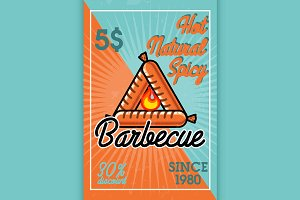 Color vintage barbecue banner