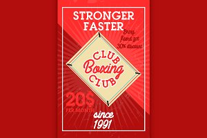 Color vintage boxing club banner