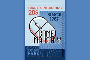 Color vintage game industry banner
