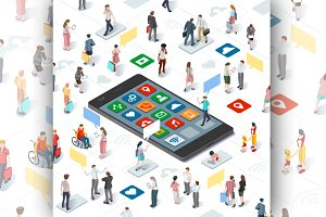 People Isometric Smartphone Vector
