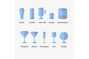 Stemware, set of glasses types