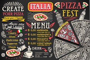 Pizza Menu Italian Food Vector