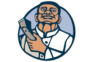 Barber Hair Clipper Scissors Circle