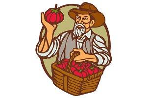 Organic Farmer Tomato Basket Woodcut