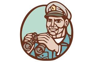 Navy Admiral Binoculars Circle Linoc