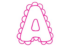 Letter A pink lace letter vector
