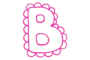 Letter B pink lace letter vector
