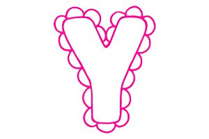 Letter Y pink lace letter vector