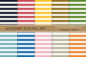 Digital Papers - Stripes on White