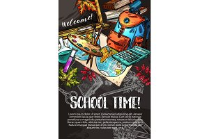 School supplies chalk sketch poster on blackboard
