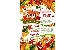 Hello Autumn banner of fall harvest celebration