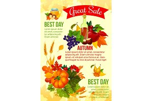 Autumn sale banner with fall leaf and veggies