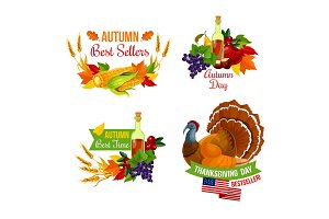 Thanksgiving sale icon of autumn season holiday