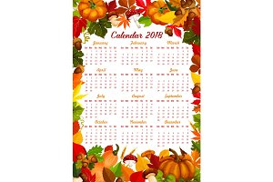 Autumn harvest fall vector 2018 calendar