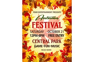 Autumn vector party festival invitation poster