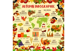 Autumn season nature infographic template design