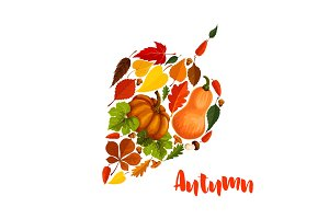 Autumn vector pumpkin leaf foliage greeting poster