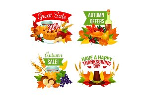 Autumn sale icon of Thanksgiving Day, fall harvest