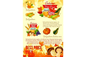 Autumn harvest season sale poster template design