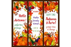 Autumn season banner set with fall harvest frame