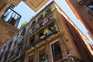 Barcelona, Catalonia, Spain - June 20, 2017: Low Angle View Of An Old Houses