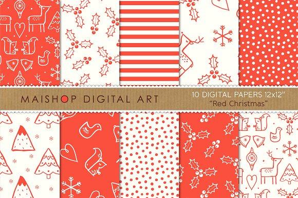 Digital Paper - Red Christmas