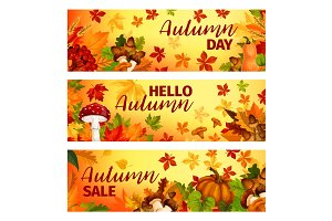 Hello Autumn banner with fall leaf frame border