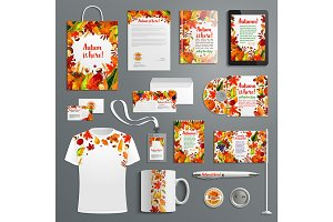 Corporate identity set with autumn brand symbol