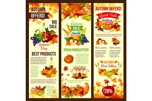 Autumn sale banner set of fall harvest celebration