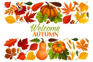 Autumn banner with border of fall leaf, pumpkin