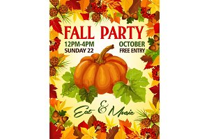 Autumn Fall vector party invitation poster